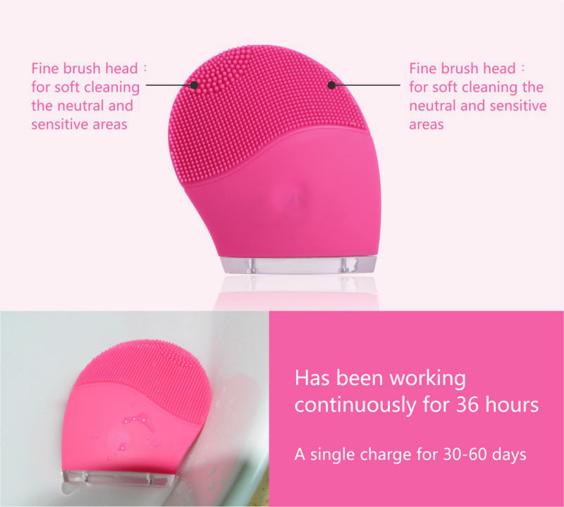 Private label Waterproof Electric Silicone Facial Sonic Cleansing Brush Deeply Cleaning