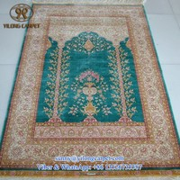 3.3x5ft green classical handknotted silk muslim prayer rug