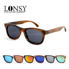 LS1024-C2 china wholesale high quality polarized glass lense bamboo sunglasses for men