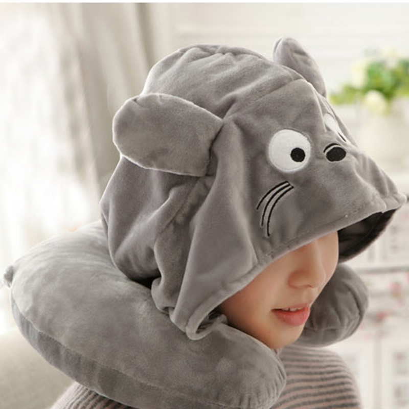 Wholesale Animal Little Bear Kids <strong>U</strong> Shaped Hooded Travel Neck Pillow