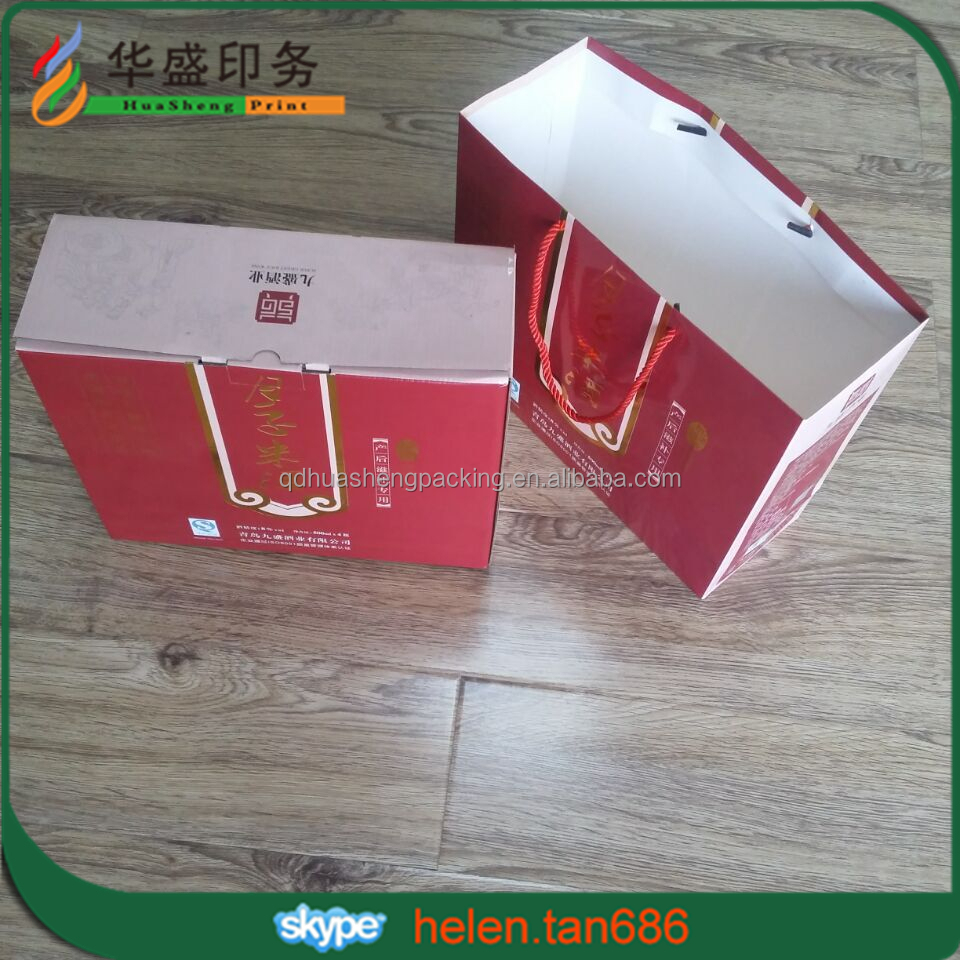 Strong decorative high quality custom corrugated cardboard wine glass carrier box with handles