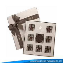 customized luxury cardboard paper gift packaging chocolate box with ribbon cover