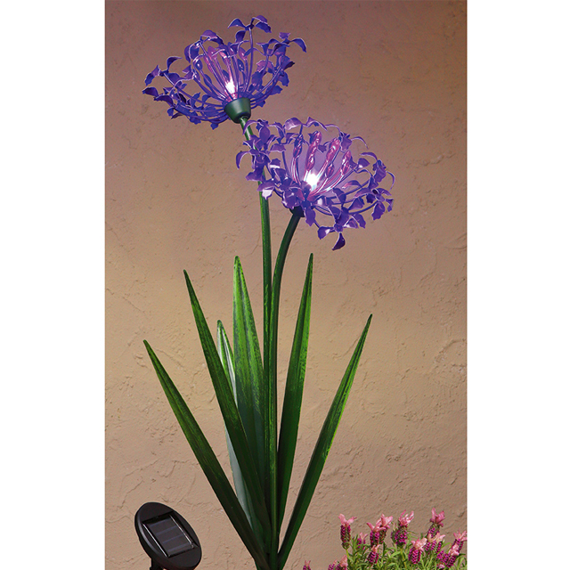 metal garden solar led light flower solar agapanthus flowers Trendscape Solar LED Twin Head Agapanthus Decor Pathway Light stake