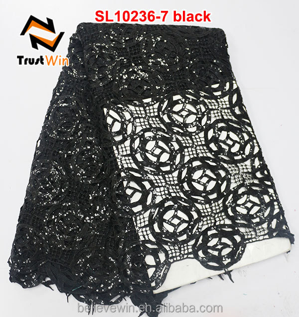 latest nigerian styles cord lace with sequins in black SL10236