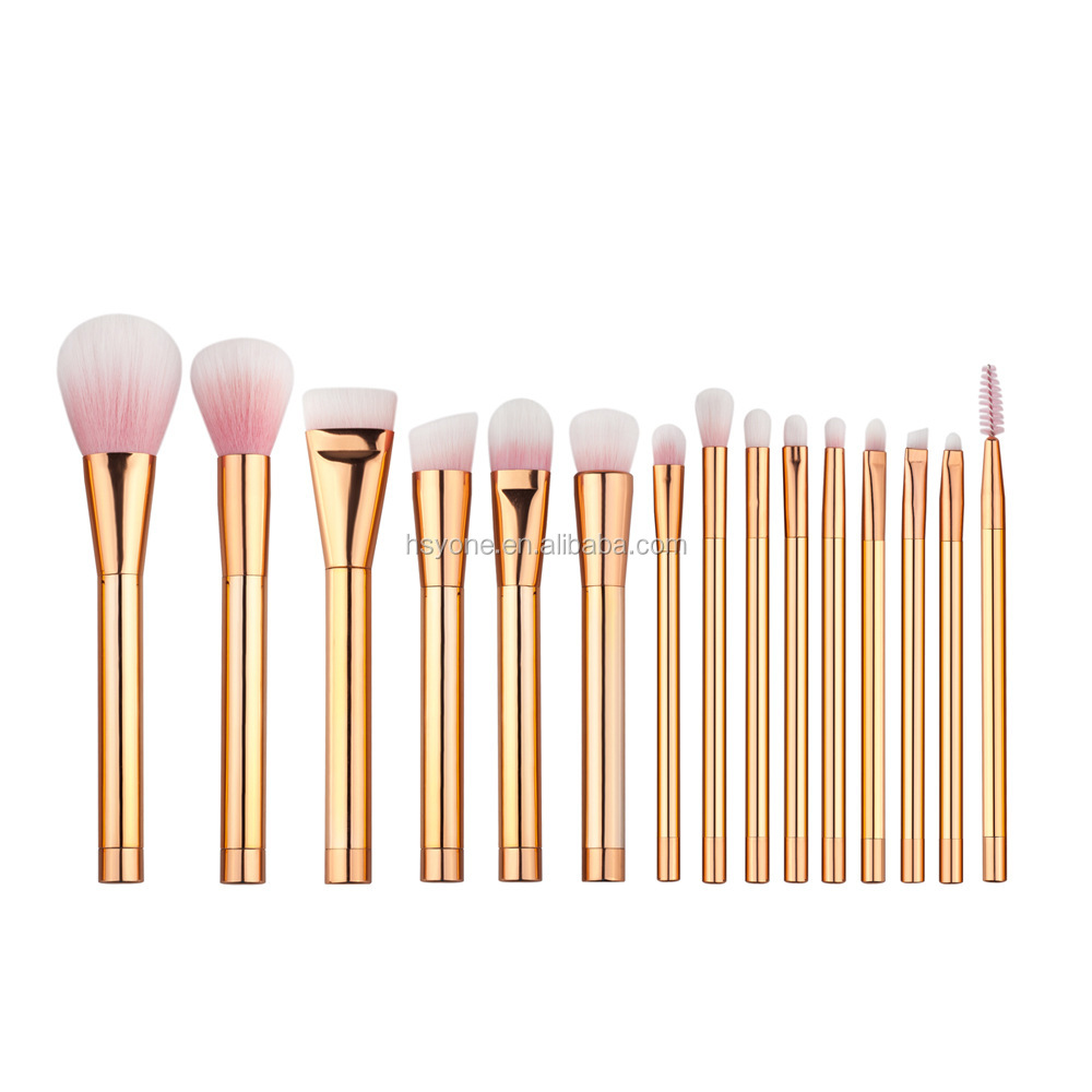 Wholesale Hot Makeup 15pcs/kit Rose Gold Make up Brushes Private Label