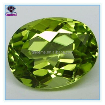 olive green oval shaped cubic zirconia stone