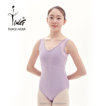 latest women tank cotton leotard with mesh on the back