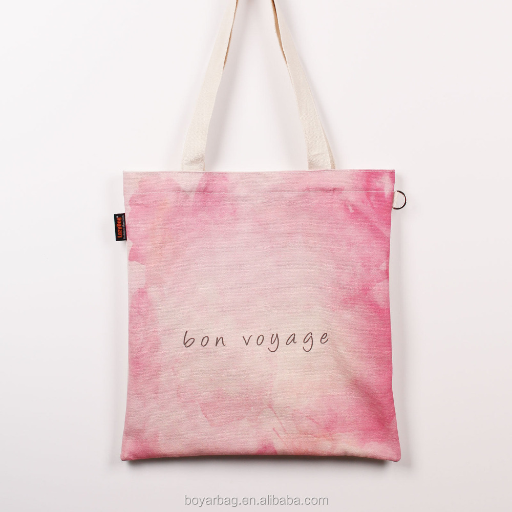 Alibaba pink Customized Canvas Tote Bags for shopping.