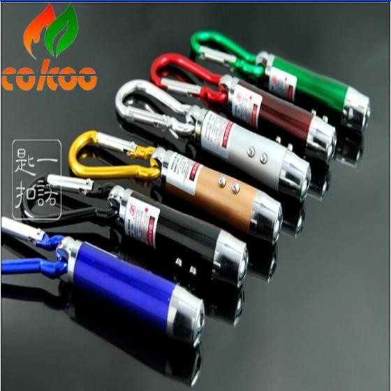 Mini Red Laser Pointer 2 LED Flashlight UV Torch With Keychain 4 Colors Available