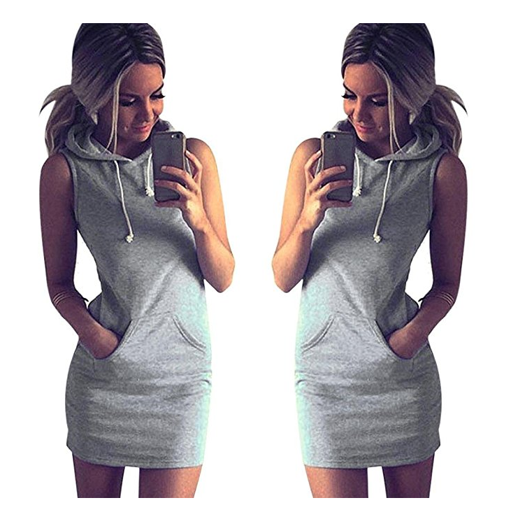 Hot Selling Women's Cotton Grey Sleeveless Casual Hooded Hoodie Dress