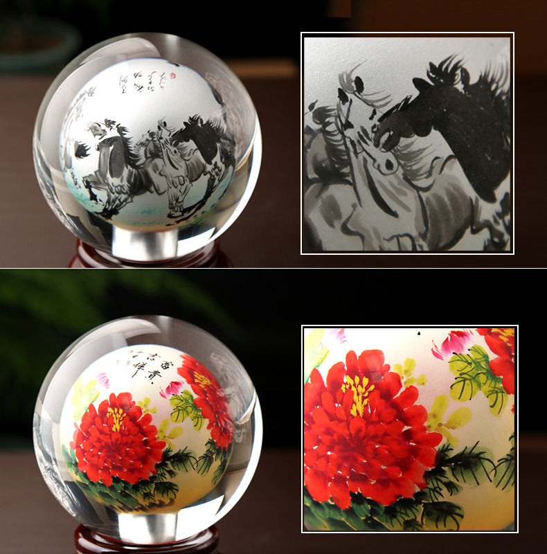 Manual Coloured Drawing Or Pattern Peony Laser Engraved Crystal Ball Exquisite 3d Laser Engraving Crystal Ball