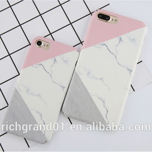 Wholesale geometric pink marble phone case for iPhone 7 7 plus