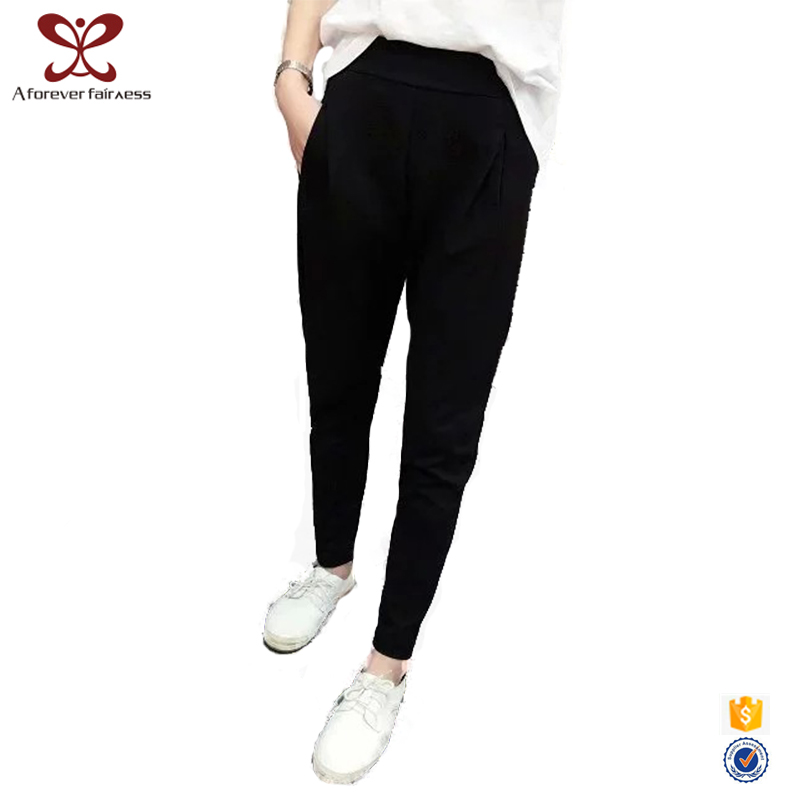 Girl Tight Fit Cotton Blending Black Pencil Pants