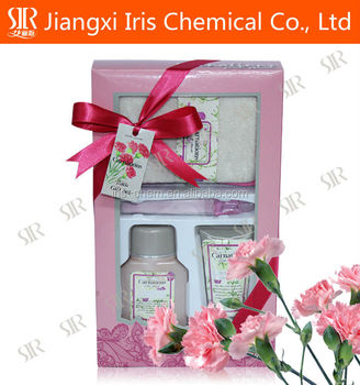 Shower gel ,bath gift set with carnation flavor for christmas