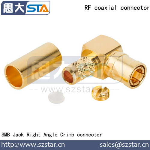 MINI coaxial connector SMB Jack R/A crimp Connector