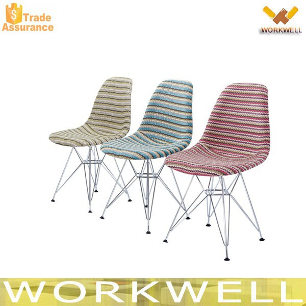 WorkWell Multicolor Chair Fabric Dining Room Furniture Chrome Legs Chair Kw-P36