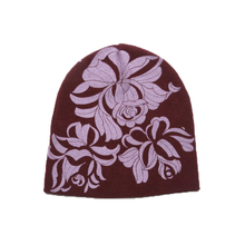 100% wool cable knit slouchy knit floral print beanie hats