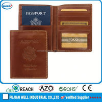 Cheap passport holder with credit card slot and metal plate