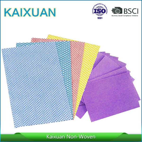 Cheap Disposable Polyester & Viscose Stripe Nonwoven Cleaning Product