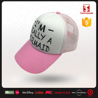 Topshow polyester printed mesh baseball summer pink lady hat