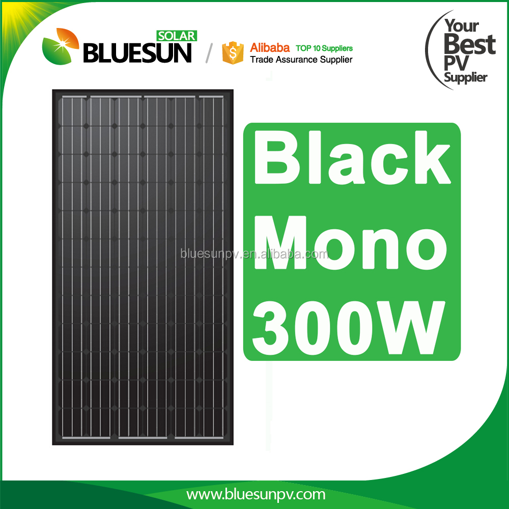 BlueSun high quality mono black solar panel 300w black 300 W solar panel module 300 watt
