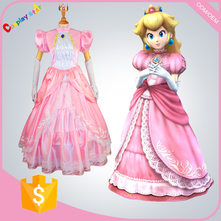 games Princess peach super Mario wholesale deadpool Cosplay Costume for free shipping