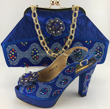 High Hell Shoe For Women Wedding Dress/Italy Design Shoe And Bag Set/African Shoe And Bag Set For Party ME7701