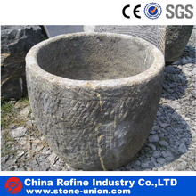 Garden decoration carved natural limestone round planter flower pots