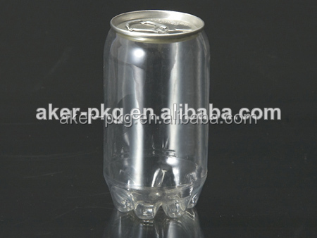 Wholesale 330ml Easy Open Aluminum lid Plastic Juice Can Bottle Soda water, Beer Use