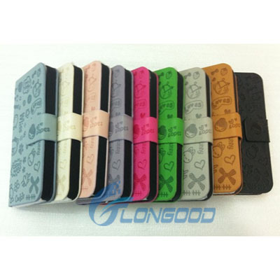 Bookstyle PU Leather Wallet Cell Phone Case Flip Cover For iPhone 5G