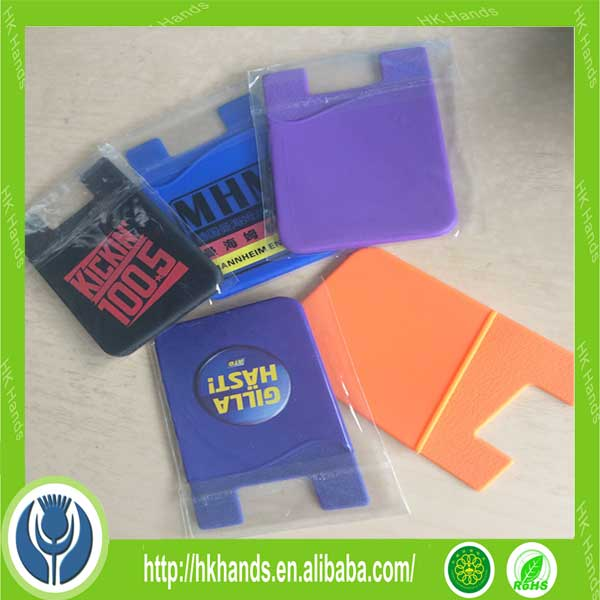 Promotional lycra sticky silicone mobile phone card holder
