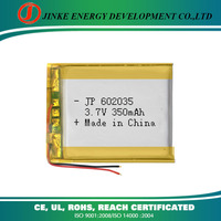 Top quality rechargeable battery li-ion 3.7v 602035 350mah lithium polymer battery for digital products