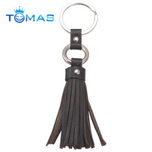 Black color leather tassel keychain