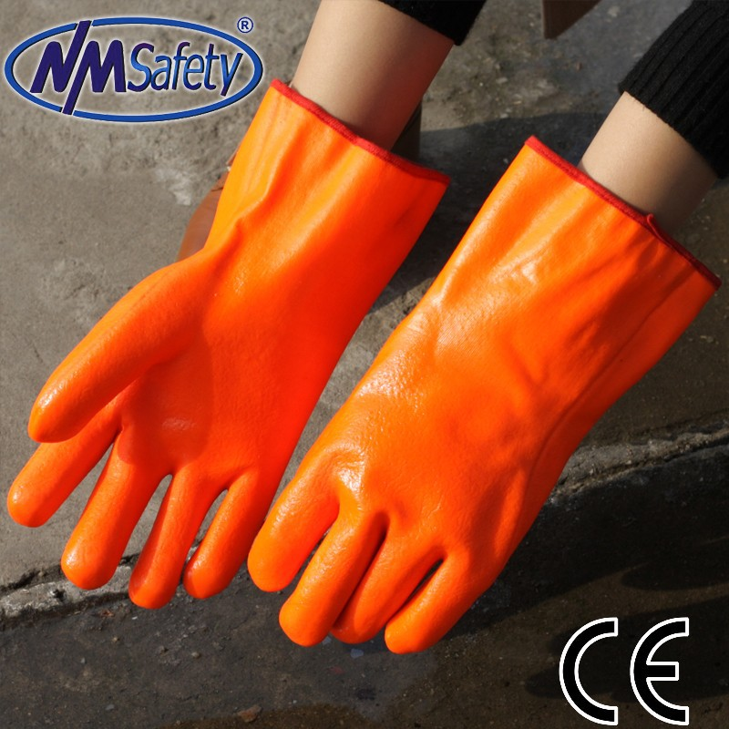 NMSAFETY safety pvc coated work gloves 3 layers liner oil resistant gloves pvc working gloves