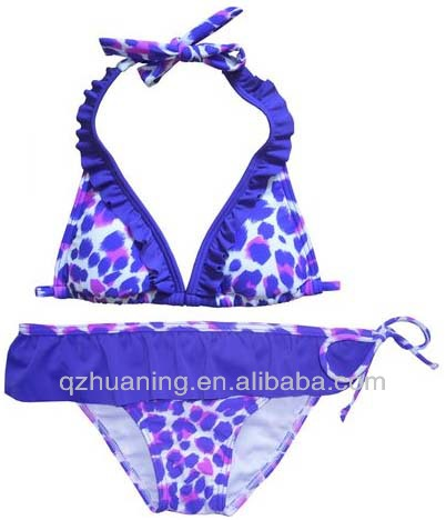 purple animal print hot girl sexy bikini swimwear of kids swimsuit