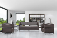 Modern Brown Leather Office Sofa Set Metal Frame Design Office Sectional Sofa for furniture