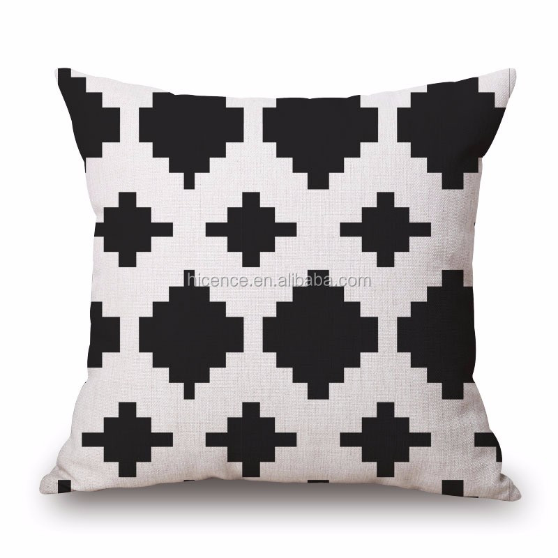 2016 New Geometric Design Linen and Cotton Sofa Seat Cushion for Home Decoration