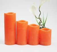 Orange LED Flameless wave-top Candles with timer or remote