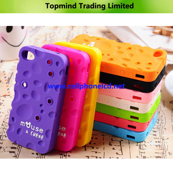 Phone Case for iPhone 4 4S Sweet-Smelling Cheese Silicone Case with Bobbin Winder