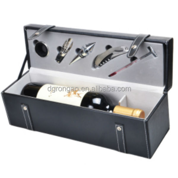 Black pu leather wine carrier for one wine bottle / faux leather wine case