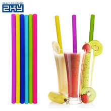 FDA Silicone 25cm Long Reusable Heat Resistant Custom Printed Silicone Rubber Large Drinking Straws