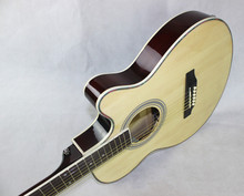 40 Inch Thin Body OEM Burlywood Guitar with pickup Acoustic Basswood Guitar Factory Wholesale