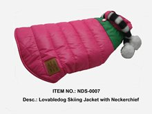 Lovable dog Skiing Jacket with Neckerchief