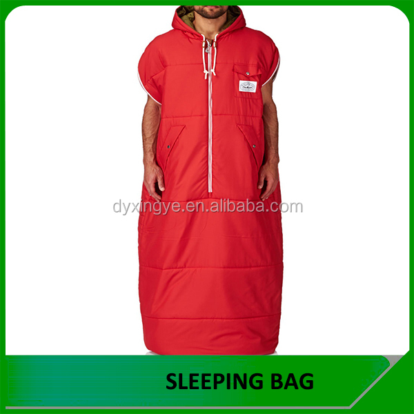 Washable fiber Filling and 3 Season Type jacket shape sleeping bag