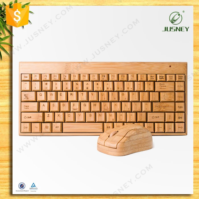 Wholesale 100% real bamboo wireless keyboard,USB bamboo keyboard and mouse