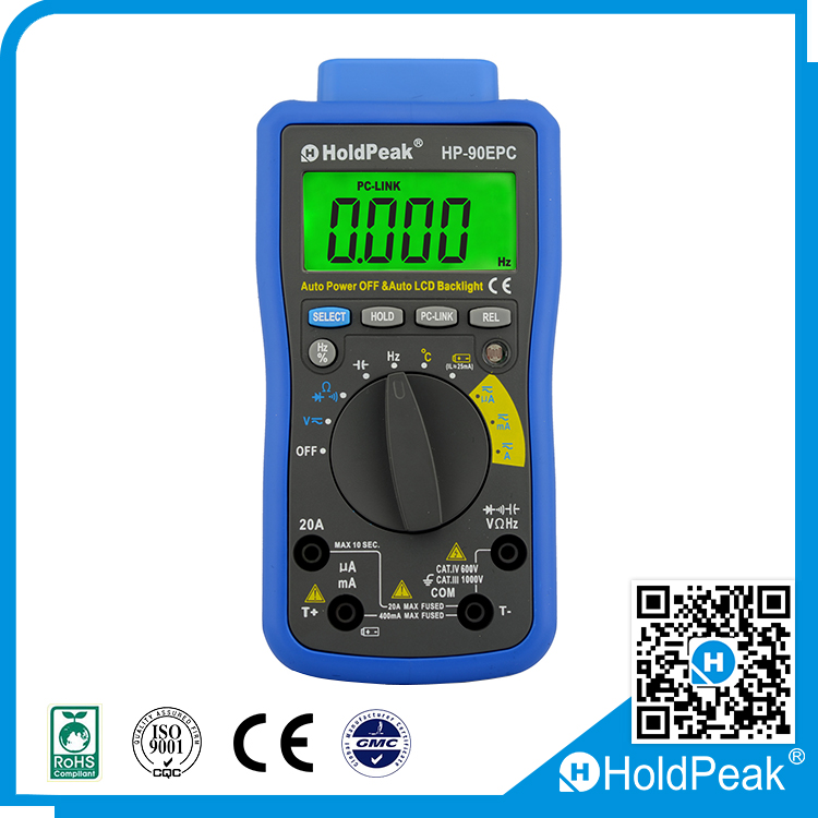 Electric power test Tool, DC AC Voltage, Current, Resistance, Diode and Transistor Tester Digital LCD Multimeter