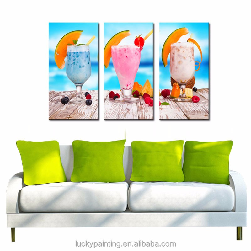 LK344 3 Panel Summer Cold Drink Fruits On The Table Oil Painting Wall Art Mordern Pictures Print On Canvas Paintings Sale For
