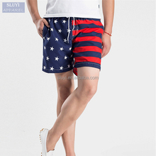 Quick dry board shorts fabric 2017 men Clothing Loose Summer Beach Trunks elastic American Flag print custom board shorts mens