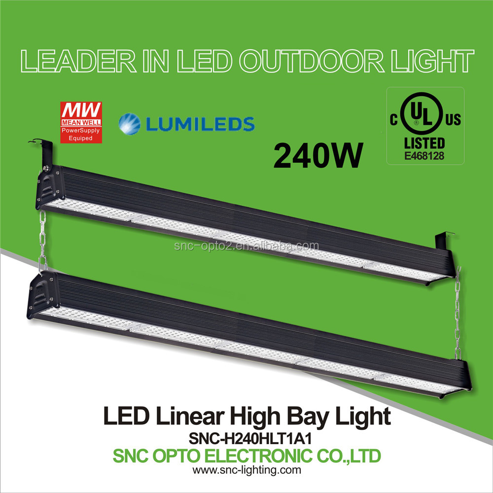 Best quality UL listed 240W LED Linear High Bay Light tunnel lighting
