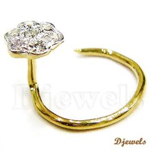 0.05 Ct Fine Diamond Gold Nose Ring & Pin